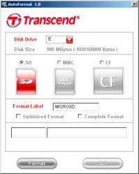 Transcend Autoformat v1.8 (SD, MMC, CF)